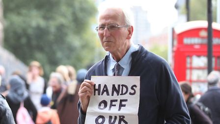 A concerned member of the public who joined the protest outside The Royal London Hospital