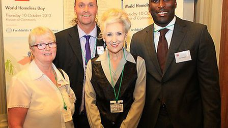 Sol Campbell, Anita Dobson with Anchor House staff members Kathy Blayney and Nigel Miles Picture Dai
