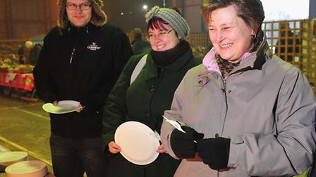 A free cooked breakfast was provided for customers at the Beccles famers market.Customers que-up for