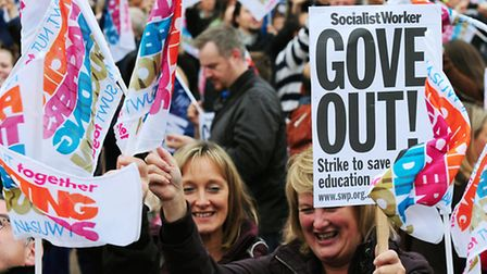 Teachers are striking in a dispute with the government over pay, pensions and working conditions. Cr