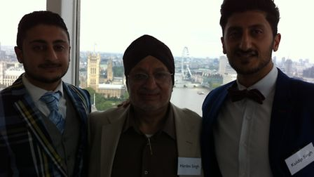 Left to right, Sukhi Singh Sahota, Hardev Singh and Kuldip Singh of Mr Singh's Sauces at the Local B
