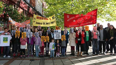 Teacher from Wanstead High School and parents and children from Snaresbrook Primary School gathered