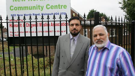 Dr Sohail Hameed (left) and Arshad Khan outside the community centre