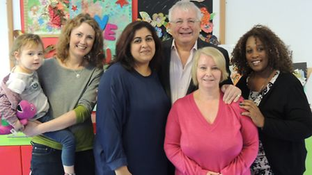Christopher Biggins with (l-r) Yasmin and mum Karen, Mariam, Pat and Rosemary at Haven House Childre