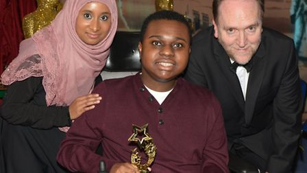 Young film-maker Jordan with care-worker Hasna Begum and Living Film project's Bernard Wighton