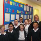 """Crowlands Primary School headteacher Hayley McClenaghan celebrates with pupils after being rated """"go"""