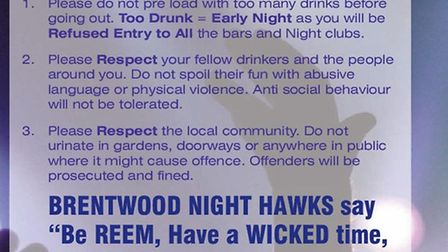 """The Brentwood Night Hawks poster outlining steps for a """"reem"""" night out. Picture: David Hayter"""