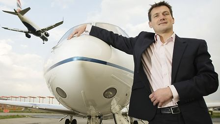 Adam Twidell, CEO of PrivateFly.com, at London City Airport