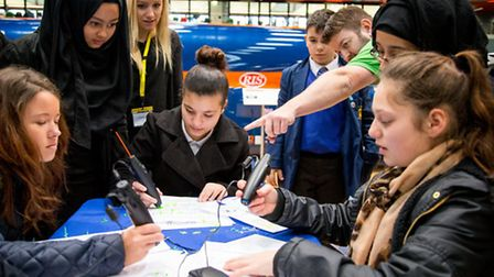 Pupils from the Eastlea Community School create structures using 3D printer pens