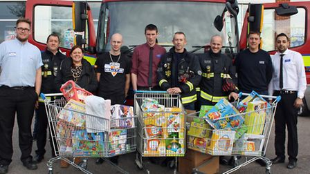 Left to right: Anthony Grosvenor (Toys R Us), Mark Mills (LFB Watch Manager), Cathy Wenn (Sister, Ch