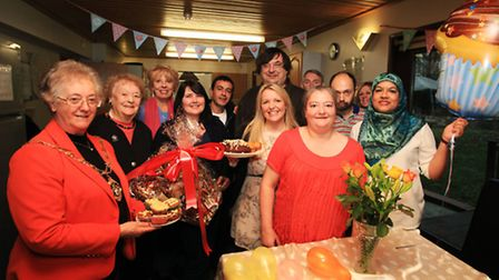 Mayor of Redbridge, Cll Felicity Banks, left, joins staff and residents at Vibrance Care Home to cel
