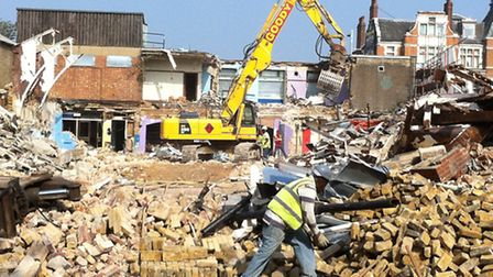 The former Ilford swimming pool being demolished