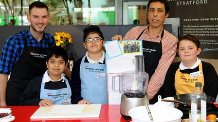 Left to right: Paul Randall, Ethan Varghese, 9, from Hartley School, Adam Messaoudin, 9 from Hartley