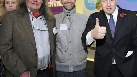 (left-right) David Pollard and Giuliano Pistoni, co-owners of The Joiners Arms, with London Mayor Bo