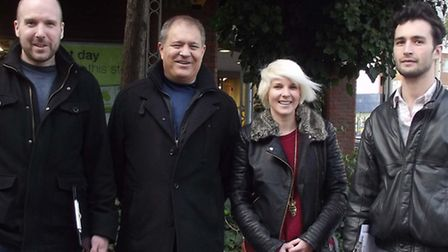 Tom McLaren, Emma Best and Joel Herga from the Conservatives' Church End Action Team with Mark Glaze