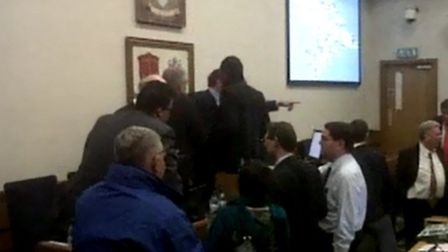 Footage taken at the town hall shows Cllr Jeffry Tucker pointing and shouting at other councillors.