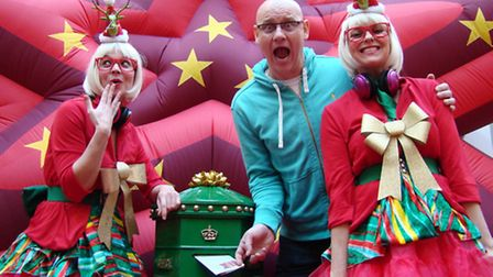 EastEnders actor Terry Alderton launching the appeal with characters from the Christmas Dreams Theat
