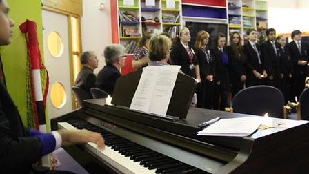 The choir from Royal Docks Community School took part in the hospice's Light up a Life annual event
