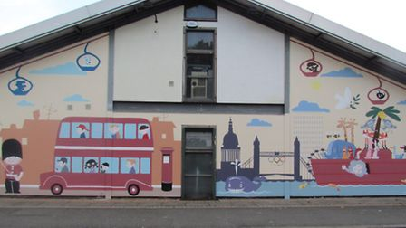 This London themed mural at Moksliukas Nursery in Canning Town is one of 20 works of art nationwide