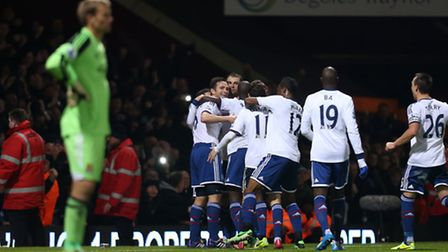 Chelsea's Frank Lampard is mobbed by team mates as he celebrates scoring his second goal during the