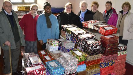 More than 170 shoeboxes were collected ready to be shipped off to orphans in Romania
