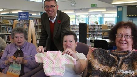 Cllr Andrew Curtin with June Eacott, Katherine Green and Ruby Pardon of the Knit and Natter group. P