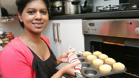 Shalini Sriskandarasa with her cupcakes fresh from the oven