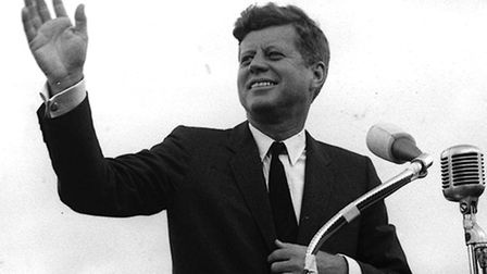 US President John F. Kennedy acknowledging the cheers of the crowd when he visits New Ross, Co Wexfo