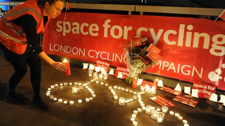 Cyclists use the new Cycle Superhighway 7 in Clapham, south west London. Picture: Press Association