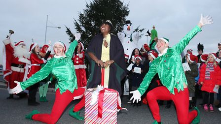 Actress Michelle Gayle, centre, and the cast of The Broadway�s Jack & the Beanstalk switch on the Ch