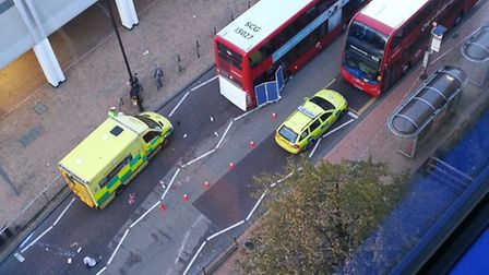 An aerial view of Western Road after the accident