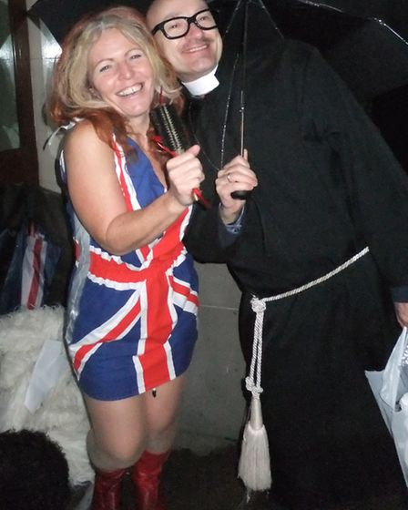 Beverly Poynter, with Denis de Lacy, a volunteer from North London Samaritans dressed as founder of