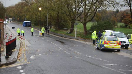 A man was killed outside Manor Park station this morning. The crime scene.