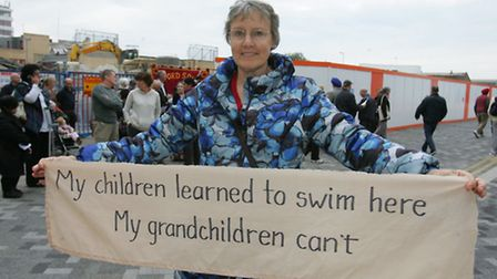Lorraine Dawes is one of many campaigners who took to the site of the old swimming pool in September