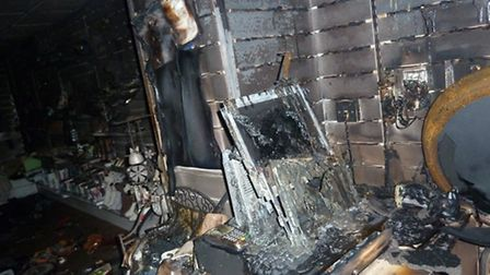 The inside of the PDSA shop after the fire