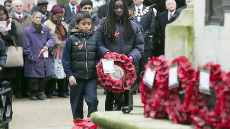 Children from where played their part in the annual Remembrance Sunday service in Central Park