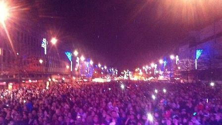 Hundreds of people turned out to see the Christmas lights get switched on and watch the fireworks di