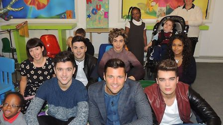 Children at the hospice's musical therapy session were joined by Mark Wright and Union J.