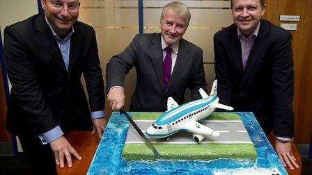 Declan Collier, centre, CEO at LCY with Mathew Hall, chief commercial officer, left and Bernard Lave