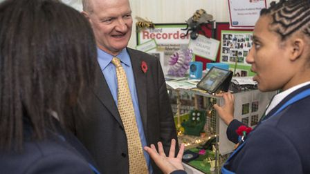 Ilford Ursuline pupils talking to David Willetts at the Houses of Parliament.