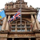 The national flag of St Lucia is raised at East Ham Town Hall.