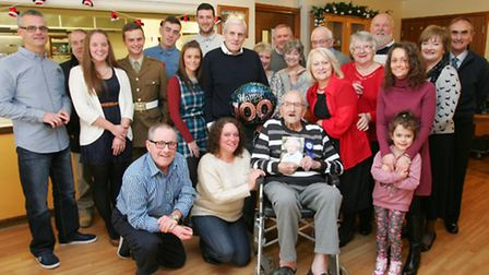 Centenarian James Pope with family and friends