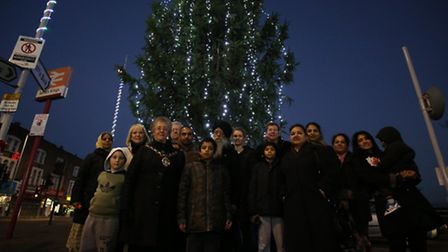 Christmas tree with Fauja Singh and the Mayor