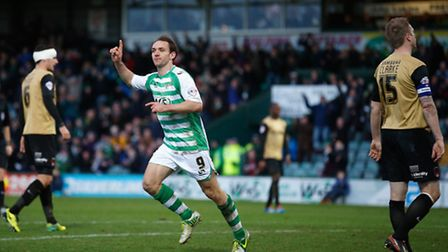 James Hayter of Yeovil Town celebrates scoring his side's third goal against Leyton Orient. Photo by
