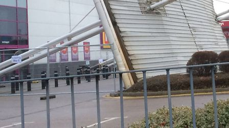 The canopy fell in the car park outside the PC World store in Beckton Retail Park