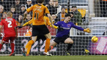 Jake Larkins makes another important save against Wolves. Simon O'Connor
