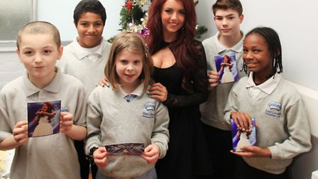 X Factor star Lydia Lucy visits children at East London Independent School, Custom House.