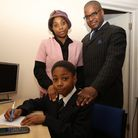 11-year old Jeremiah Cummings has got a C grade in GCSE Maths. Jeremiah Cummings with his mother