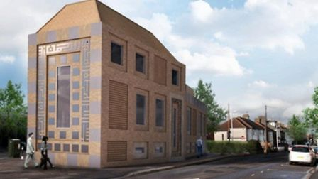 South corner view of the proposed new South Woodford Mosque. The plans were rejected by a Redbridge