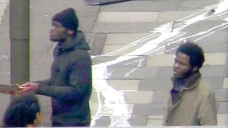 CCTV shown during the trial of Adebolajo and Adebowale (right) as they speak to a member of the publ